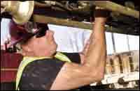 Russ Blevins, a Wagman mechanic.