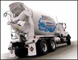International's 5600i mixer truck, rear side view