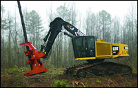 Caterpillar track feller buncher