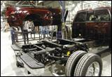 Ford pickup trucks on assembly line