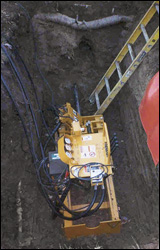 Pit-launched directional drill