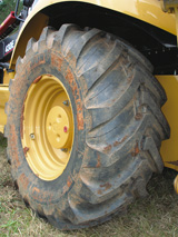 Close-up of Michelin XMCL radial tire