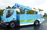 Smith's Newton electric medium-duty carrying an Altec aerial for PG&E