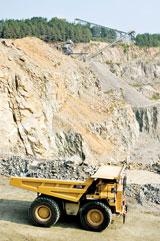 A Caterpillar 777D hauling rock at Martin Marietta's Lemon Springs, N.C., quarry