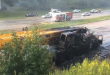 Truck Crane Catches on Fire Along I-485 (Video)