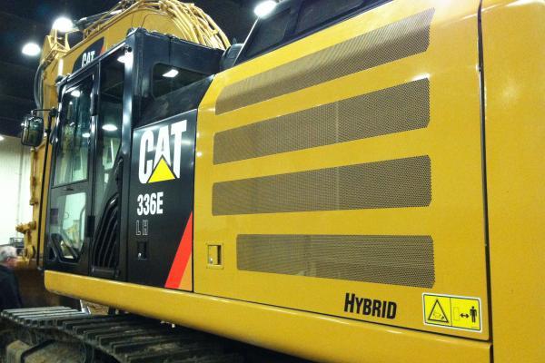 Caterpillar 336E H Hybrid Excavator.