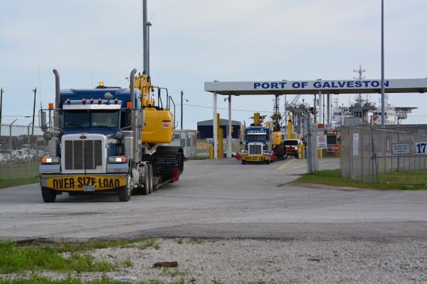 Kobelco's first shipment of excavators leaves Galveston Port.