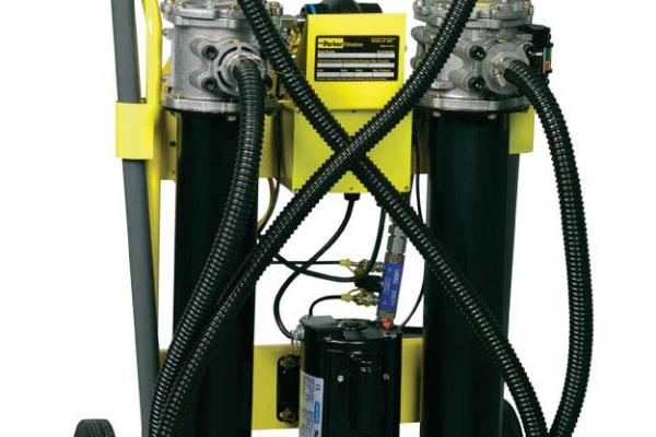 Mobile filtration carts remove solid contamination and water.